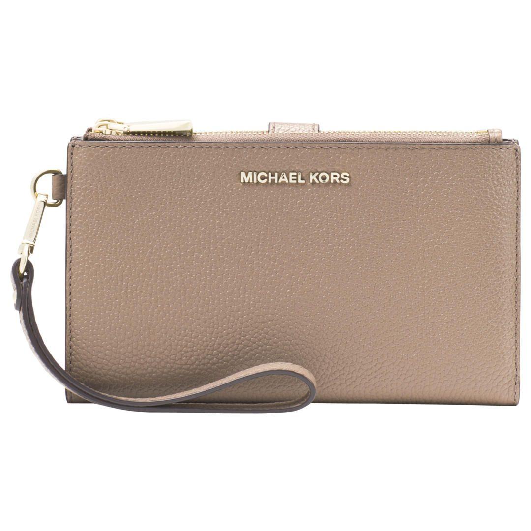 e2de7b387b394b BuyMICHAEL Michael Kors Pouches & Clutches Leather Wristlet Purse, Truffle  Online at johnlewis.com