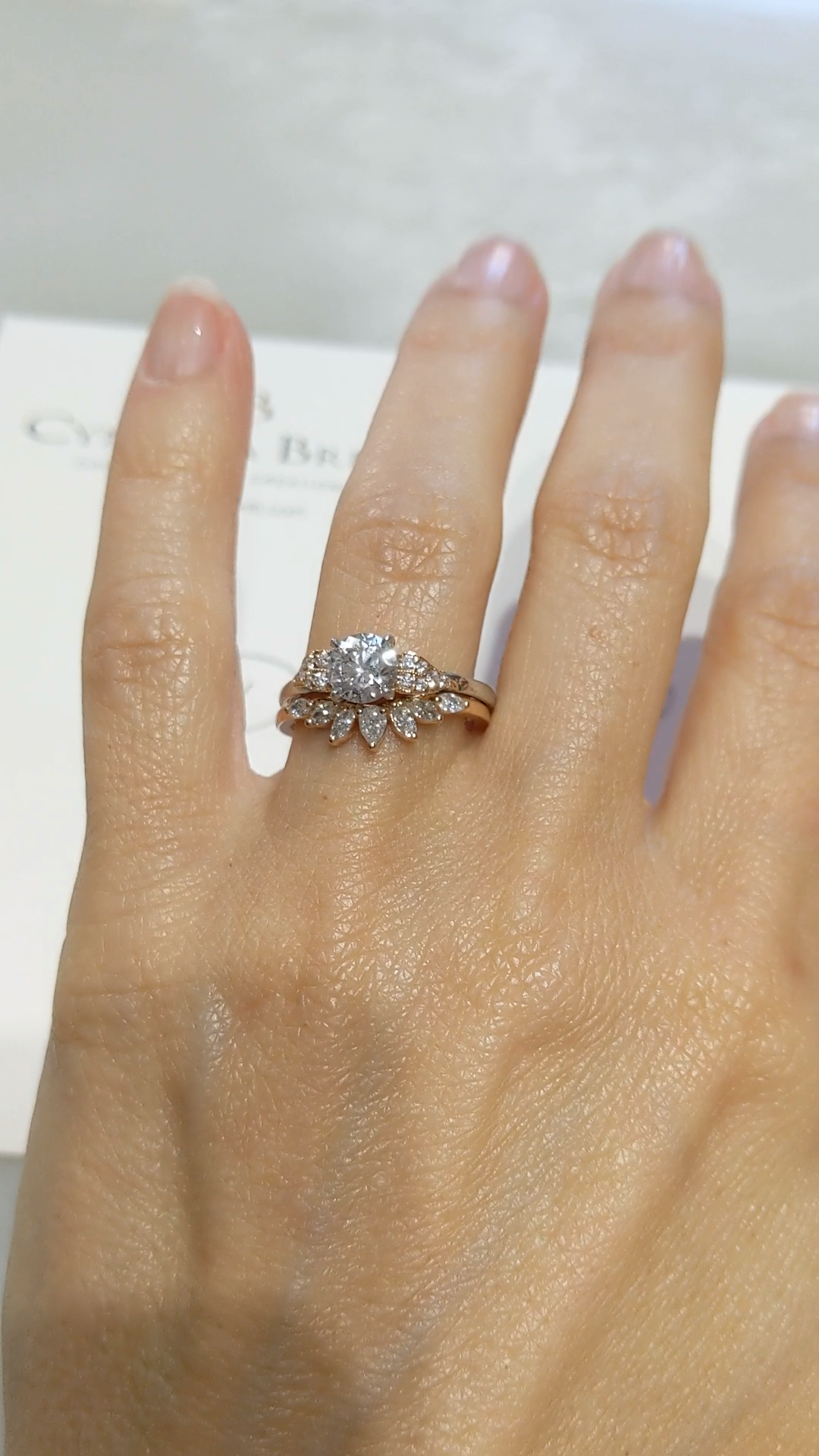 Curved Marquise and Pear Leaf Wedding ceremony Ring for