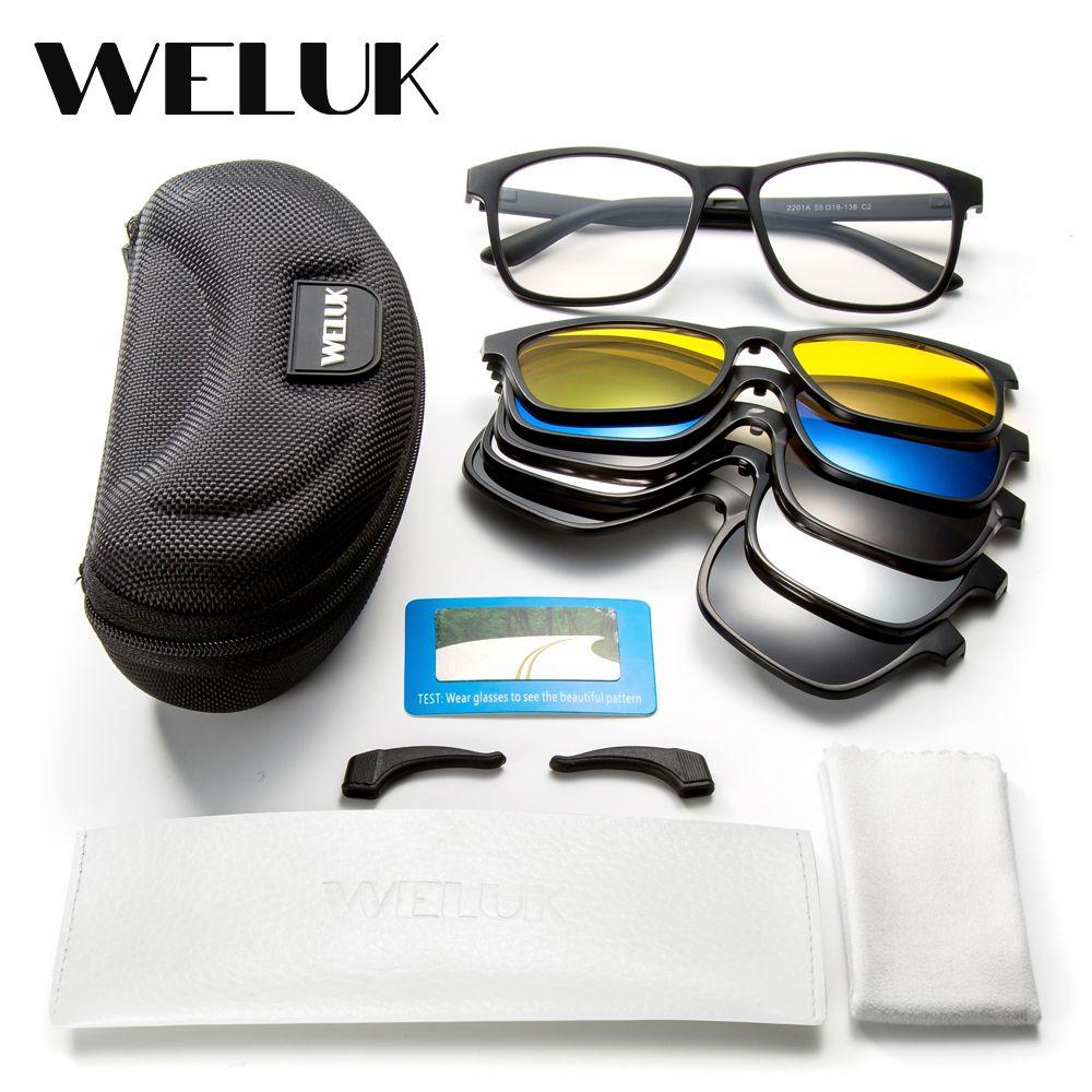 76aa329a89f5 buy weluk 5 lens magnet sunglasses clip men night driving magnetic mirrored  clip on sun glasses #polycarbonate #plastic