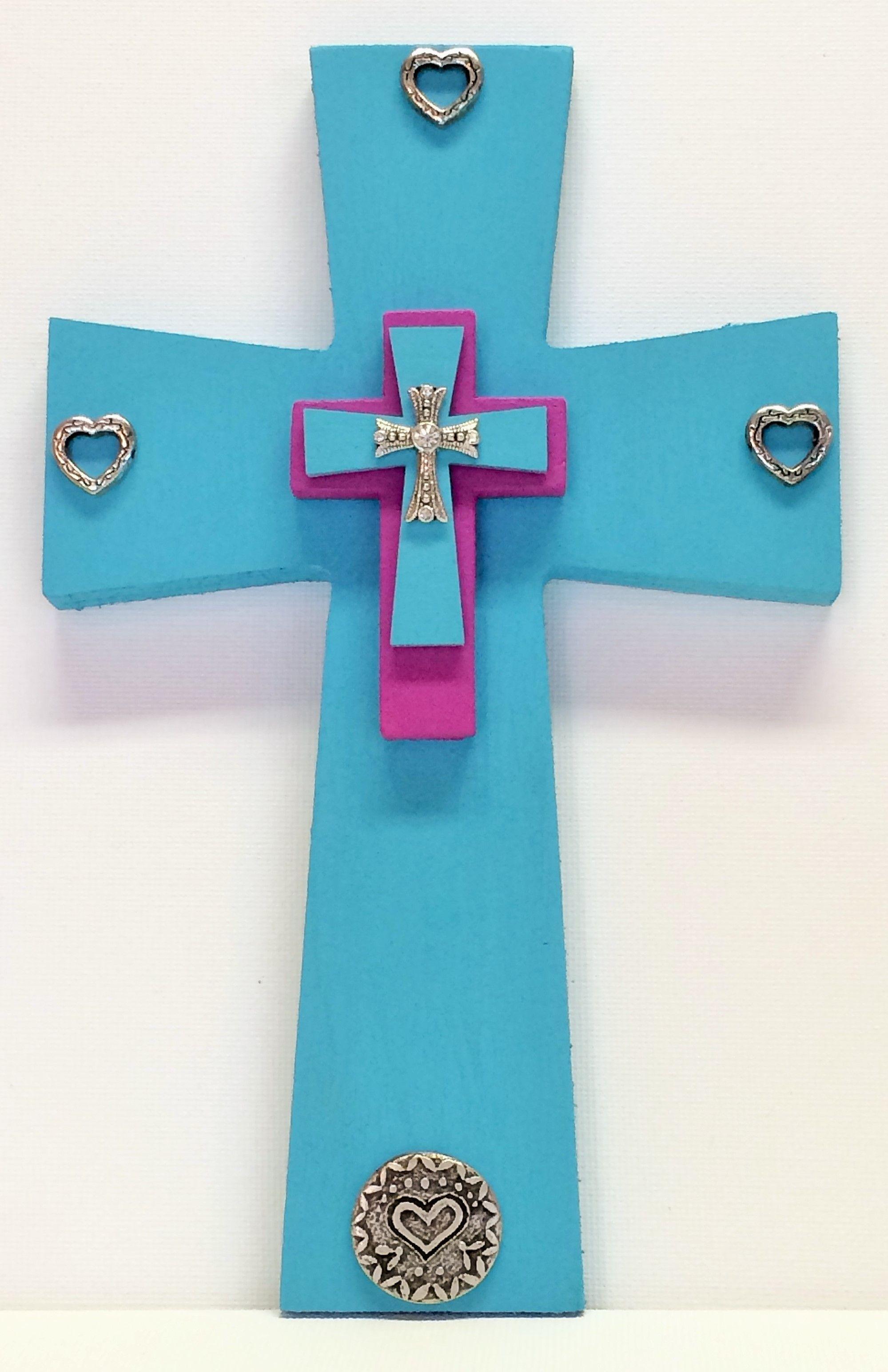 Faithful Heart 8x5wood Cross Painted Robins Egg Blue With