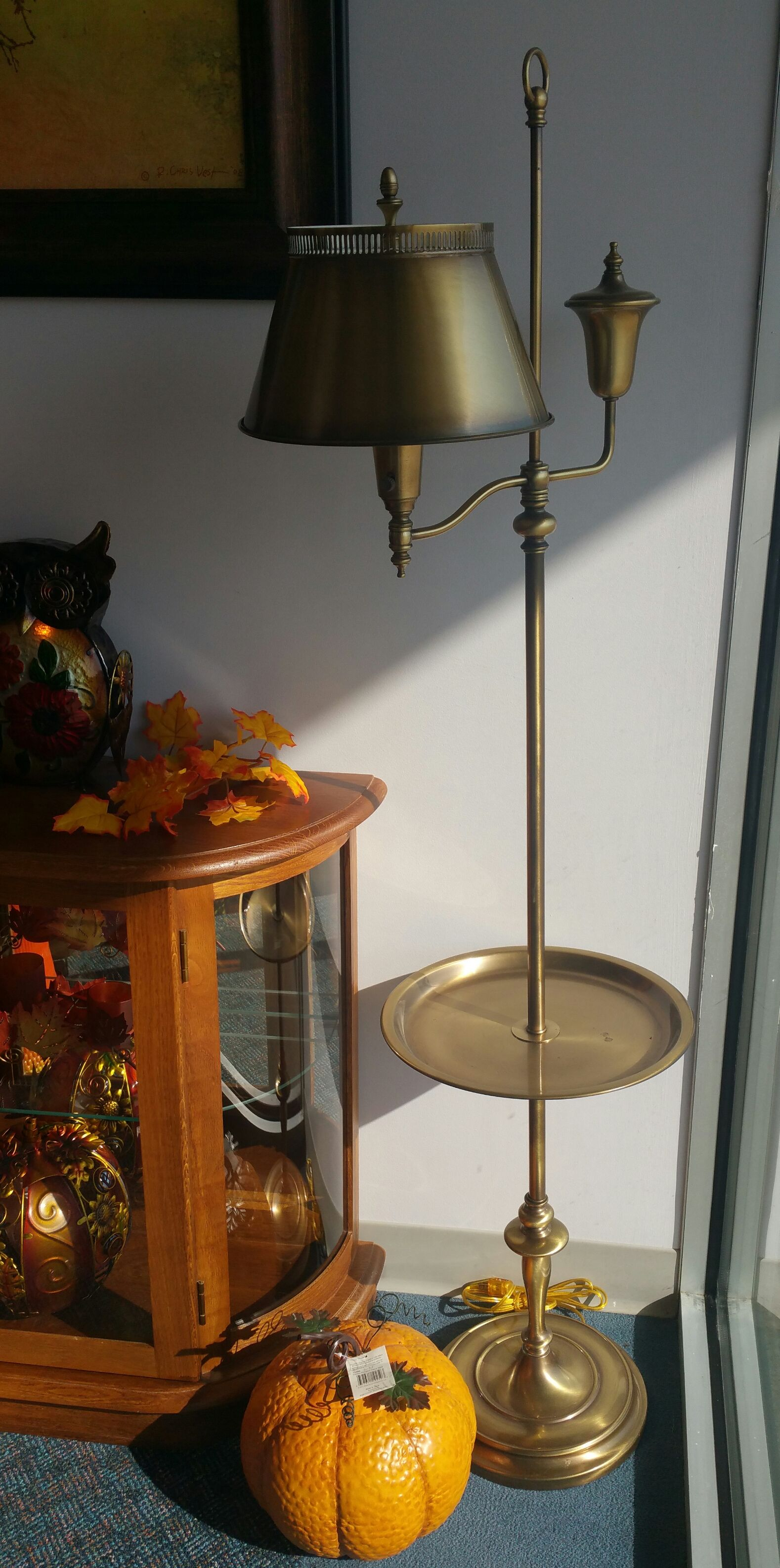 Antique brass tole floor lamp with attached tray. Still has