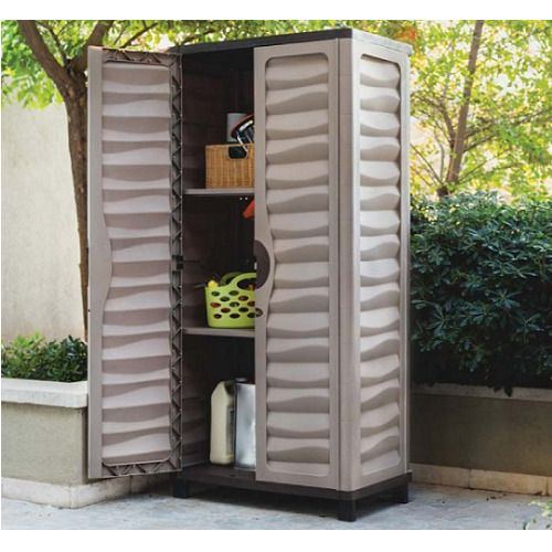 Outdoor Storage Cabinet Garden Utility Plastic Horizontal Shed