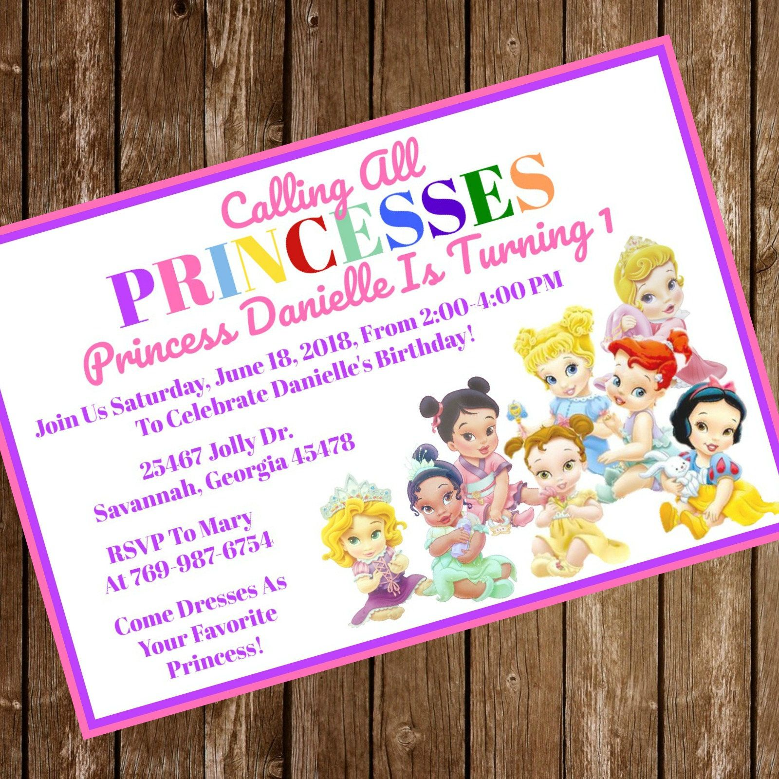 Disney Princess Birthday Party Invitation Download - Disney Princess ...