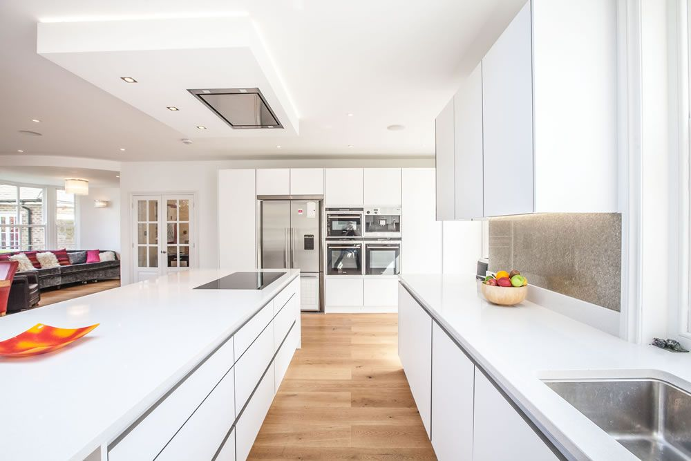 White Kitchen Extensions contemporary, white kitchen with clean lines and a sleek feel