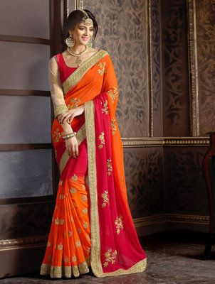 6e9d61b718ae63 Orange and red embroidered georgette saree with blouse at Mirraw.com Saree  Blouse, Saris