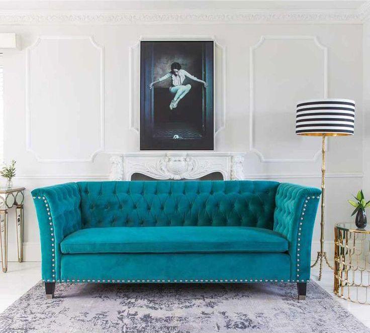 True North Textiles Design Studio Turquoise Sofa Turquoise Sofa Living Room Turquoise Blue Velvet Sofa #turquoise #couch #living #room