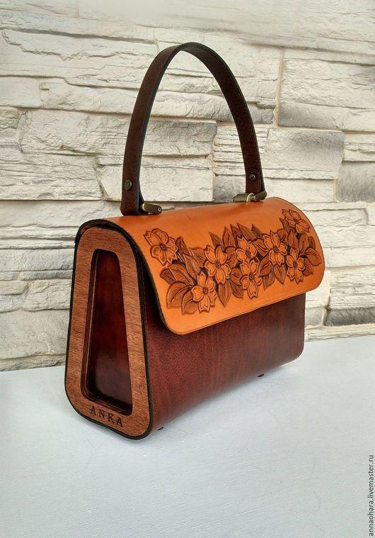 3525120545ec Женские сумки ручной работы. Ярмарка Мастеров - ручная работа. Купить Сумка  из кожи и дерева Flowers- L. Handmade. Коричневый