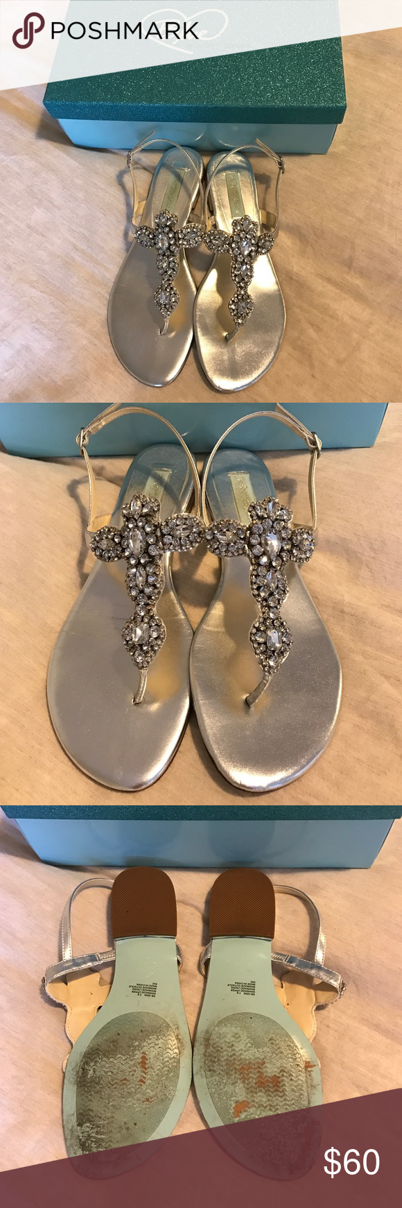 Blue by Betsey Johnson Gem Sandals These shoes are perfect for a dressy night out or to change into after a wedding ceremony! Only been worn once to one wedding, a little worn on the bottom, but flawless otherwise. Betsey Johnson Shoes Sandals