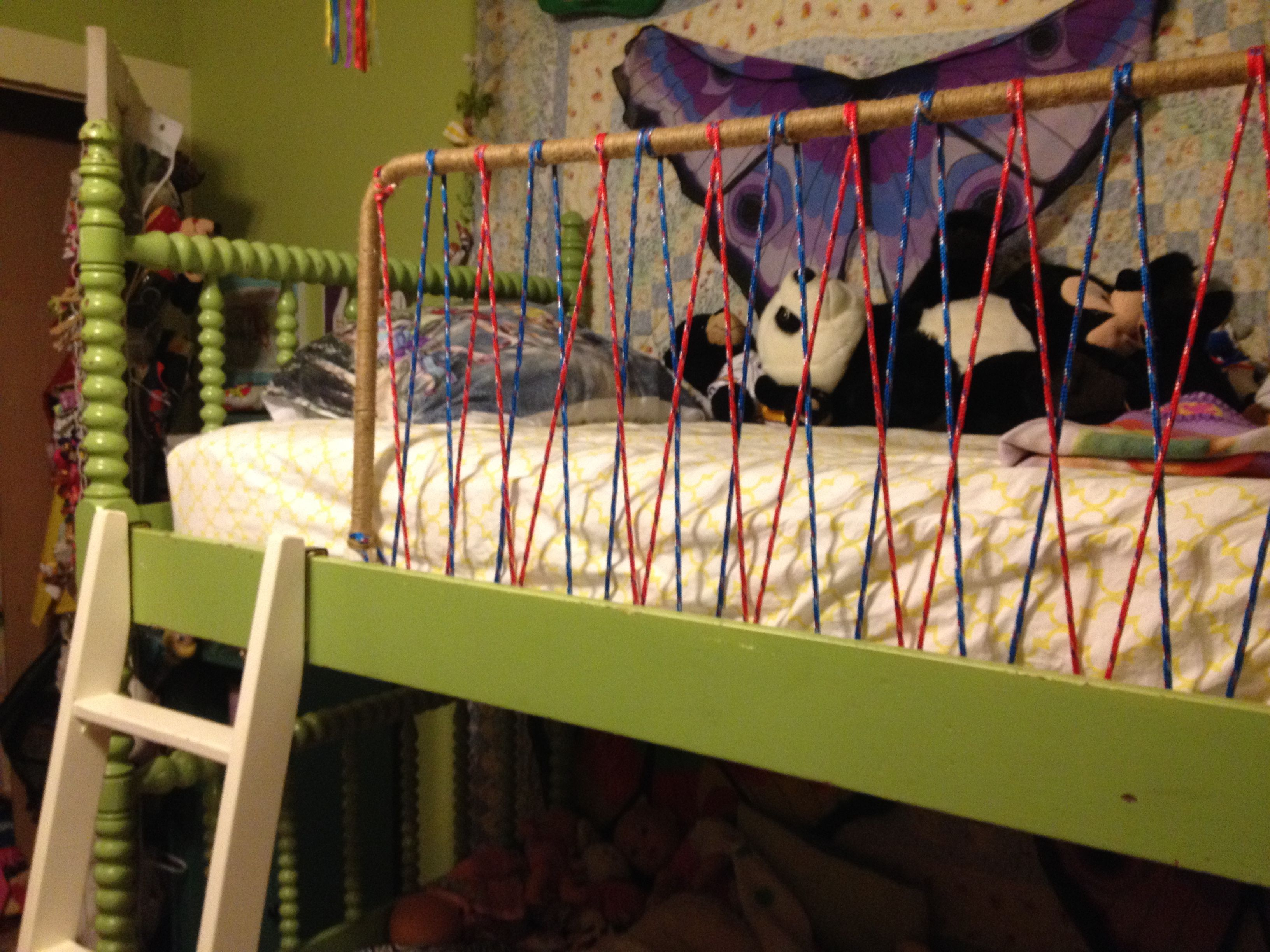 Bunk Bed Railing Diy Made From Rope And Old Toddler Safety Rail