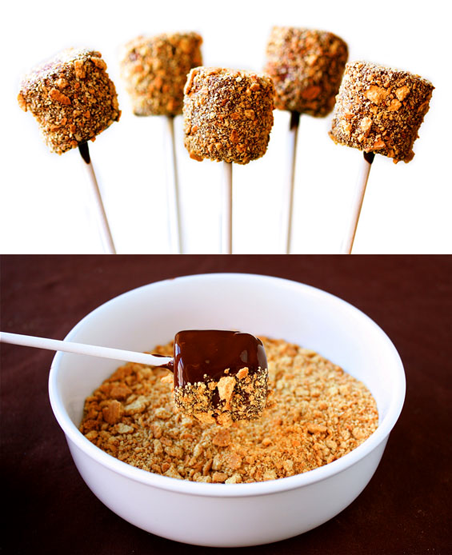 So simple but clever - S'mores Pops. Marshmallows on a stick, dipped in melted chocolate and rolled in crusehd grahams!