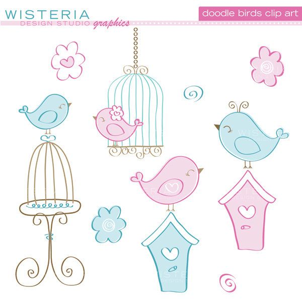 Doodle Birds and Cages - Blue and Pink - Clip Art for Personal & Commercial Use - Digital Designs. $5.00, via Etsy.