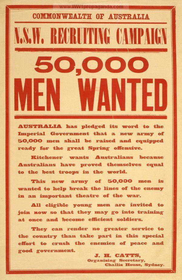 Examples of Propaganda from WW1 Australian WW1 Propaganda - examples of wanted posters