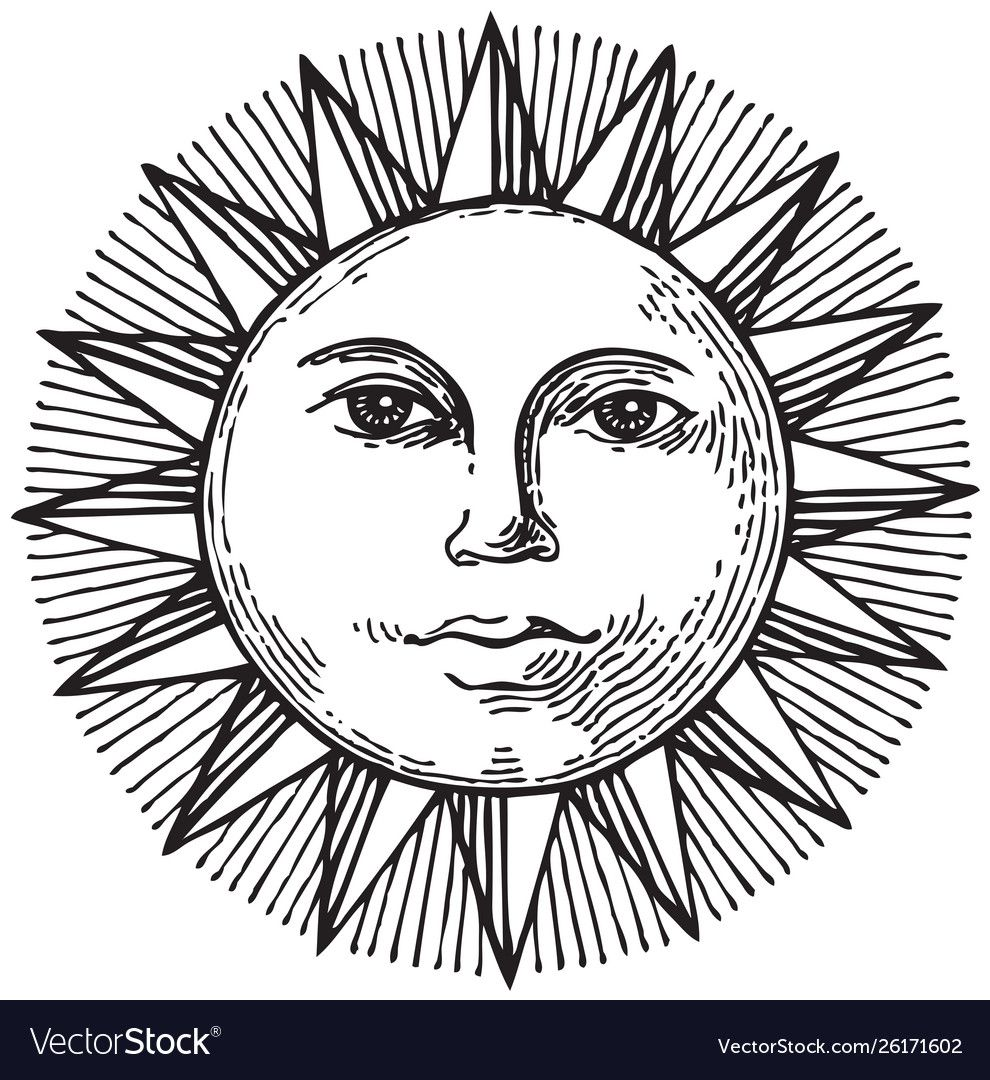 Black and white hand drawn sun with face vector image on