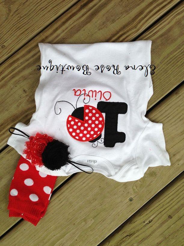 Red polka dot ladybug birthday outfit  custom by ElenaRoseBowtique, $24.00