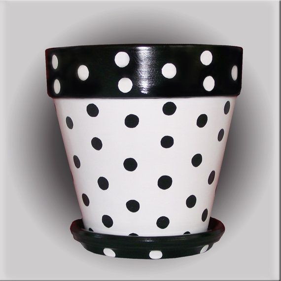 Black And White Polka Dot Flower Pot Hand Painted By Designsbydesa