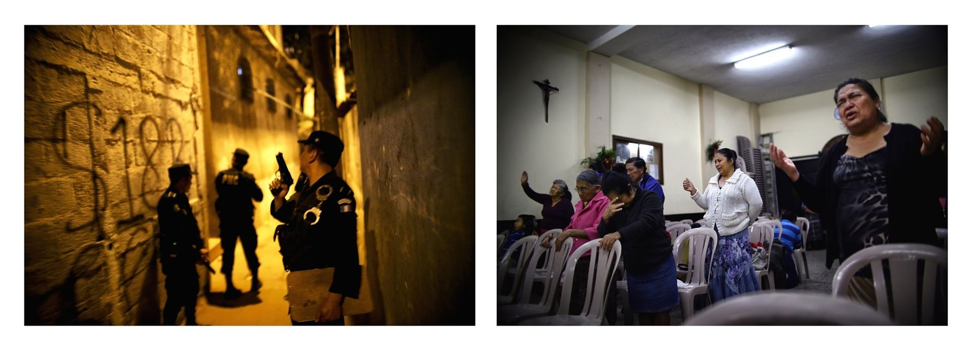 Left: Guatemalan police take part in a night raid in Barrio Limon, Zone 18. Right: Not far away, evangelical church-goers gather for evening prayer. Religion plays a central role in daily life in Guatemala City – even among the violent gangs of MS-13 and Calle 18, the motto is: 'For God, for my mother, for my gang.'