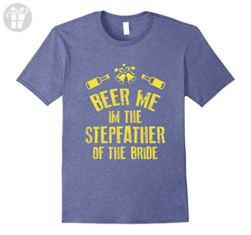 Mens FUNNY BEER ME IM STEPFATHER OF THE BRIDE T-SHIRT Wedding Large Heather Blue - Funny shirts (*Amazon Partner-Link)