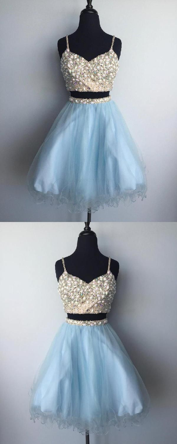 Blue two piece for teens aline seve in homecoming