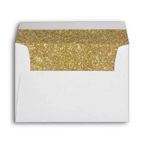 Return Address & Glitter Liners Wedding Envelope | Zazzle.com #goldglitterbackground