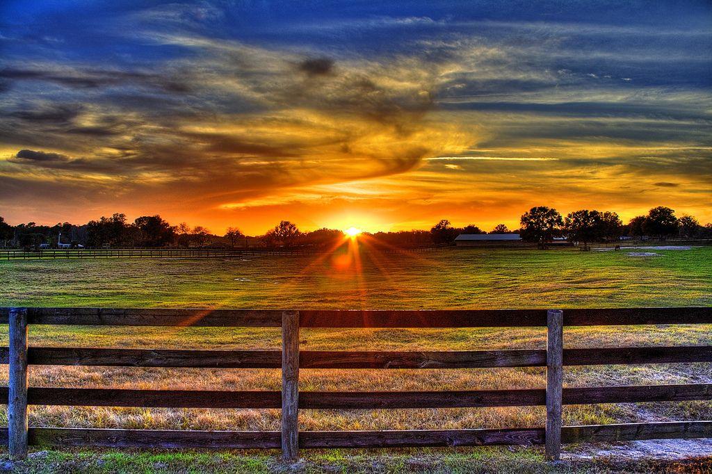 Horse Farm Sunset HDR | Sunrise, sunset | Horse farms ...