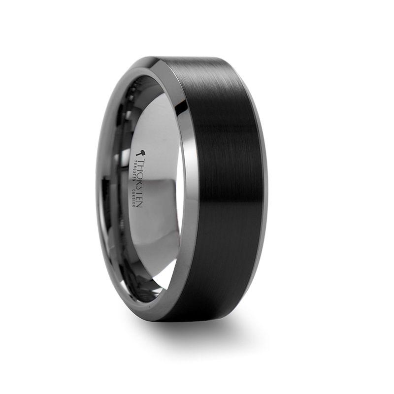 Arden Beveled Edged Tungsten Ring Wth Brush Finished Black Ceramic