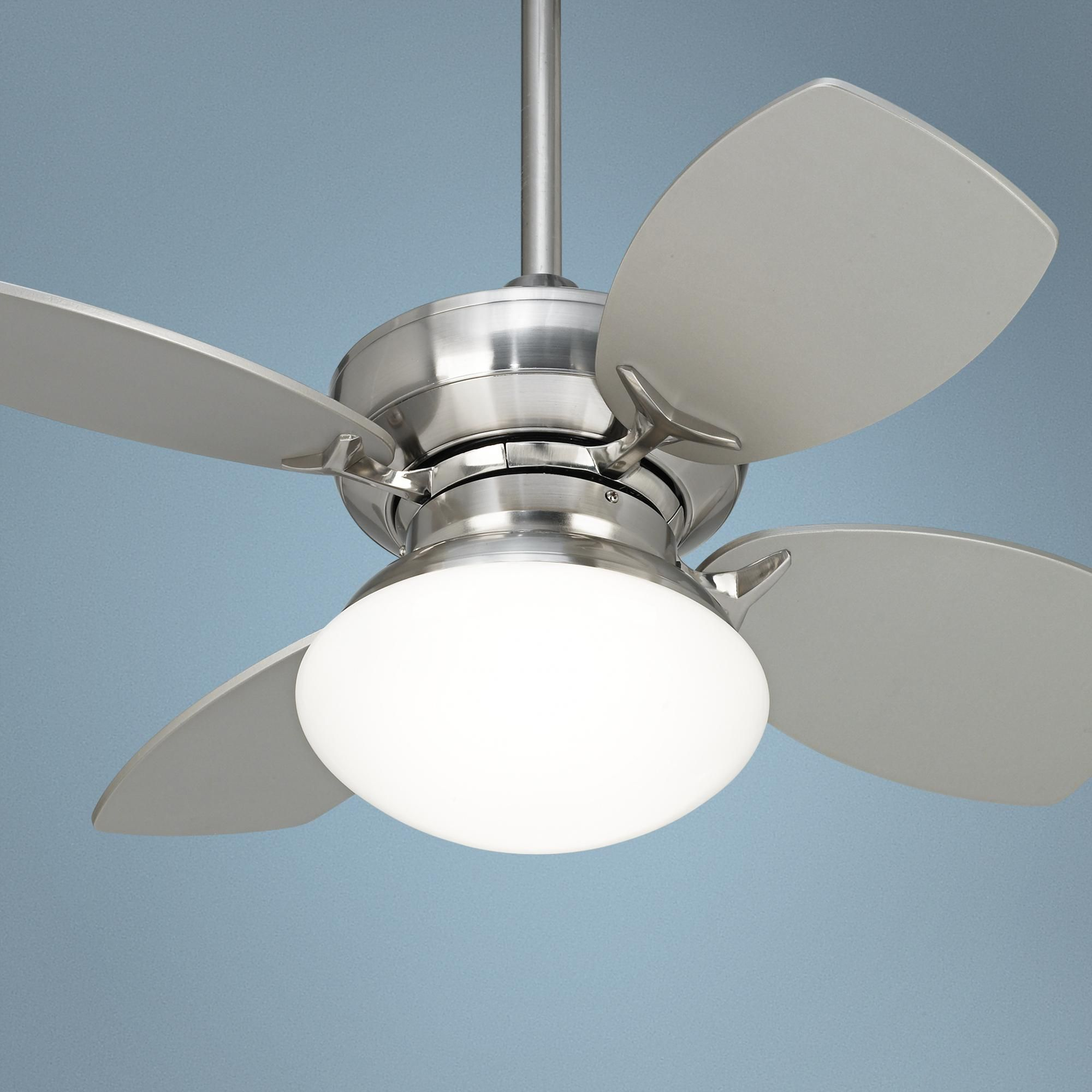 Contemporary Ceiling Fans Brushed Nickel 28 Quot Hana Bay Brushed Nickel Ceiling Fan Guest Room