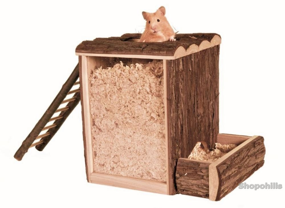 Pet Hamster Wooden Wood Digging Tower Play House Large Toy House