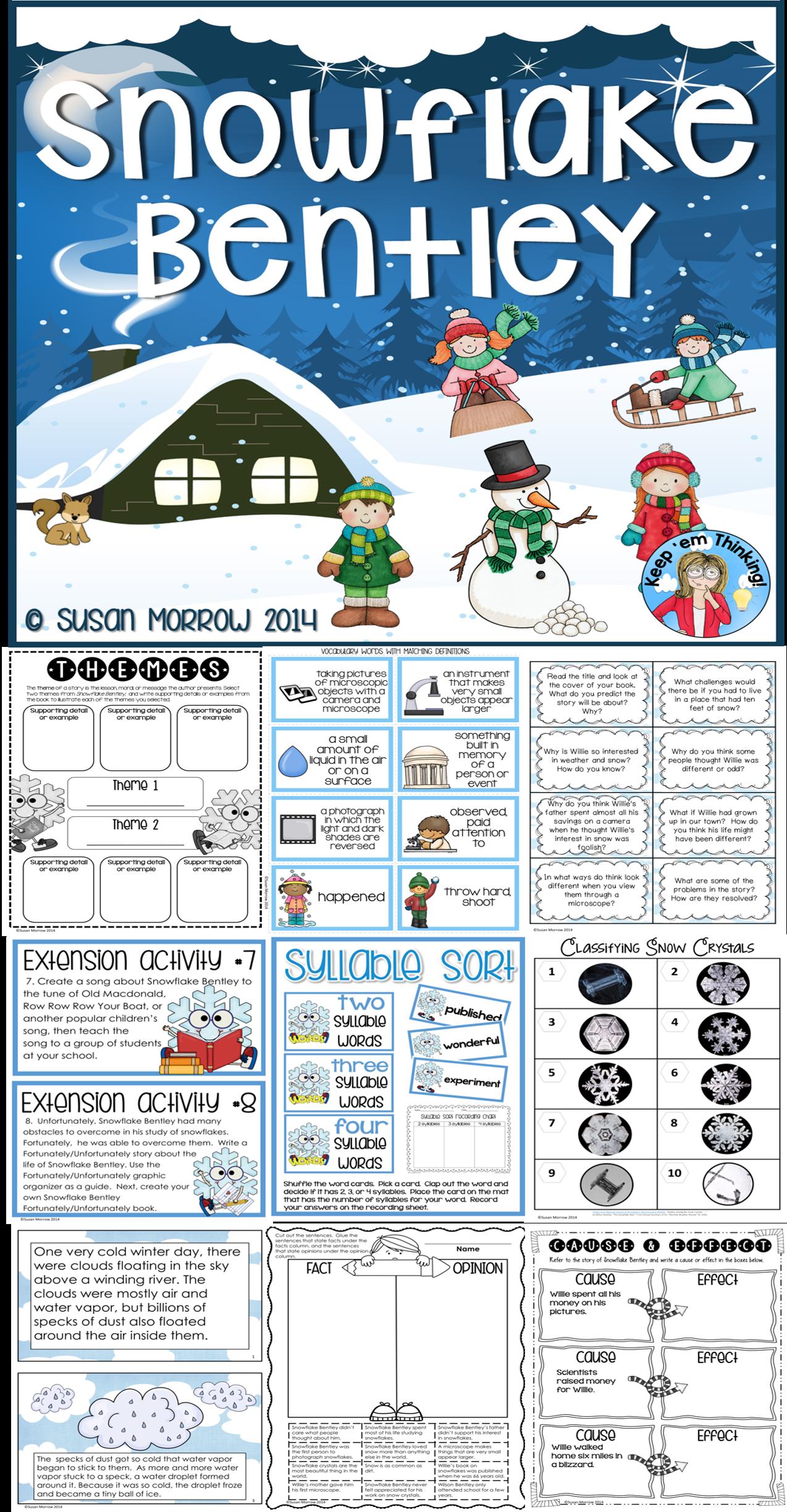 Snowflake Bentley Activities Winter Unit Integrating Science Amp Literature
