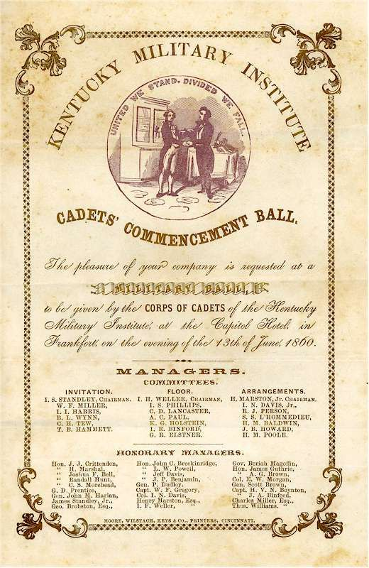 1860 Military Commencement Ball Invitation The Good Ole Days