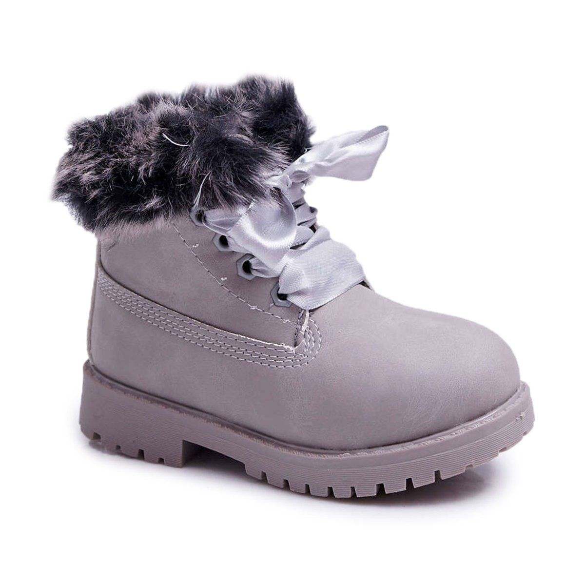 Frrock Dzieciece Botki Ocieplane Futerkiem Trapery Szare Tesoro Timberland Boots Shoes Boots