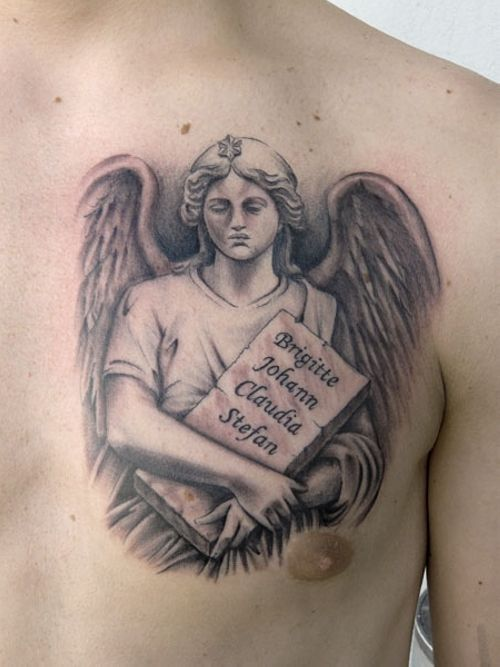 Angel Tattoos On Chest : angel, tattoos, chest, Inspiring, Angel, Chest, Tattoo, Guardian, Tattoo,, Designs
