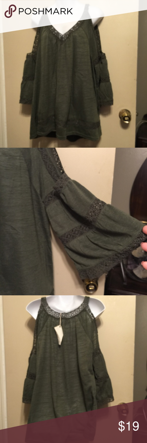 Entro Cold Shoulder crochet top& bell sleeves new Last picture is to show how it should kinda hang on . 100% polyester. Has crochet lace around neck & sleeves , & inset at the bottom . Underarm to underarm is 23 inches . 28 inches in length .color is a olive green entro  Tops