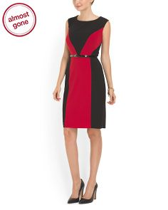 image of Colorblock Belted Sheath Dress