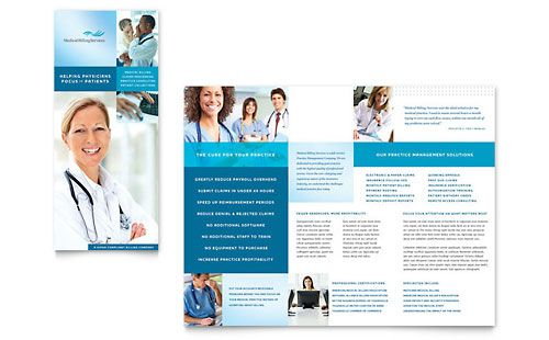 Medical Billing \ Coding Tri Fold Brochure Template 平面u2014折页 - medical brochure template