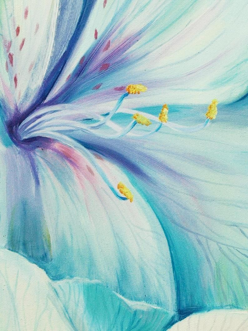 Art Original Oil Painting Two Flowers Home Decor Wall Decor Azure