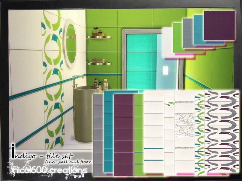 Indigo tile set includes 9 different tiles for walls and 5