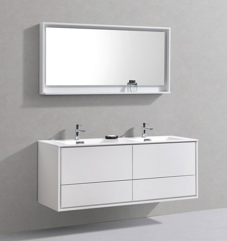 60 Dante Double Sink Wall Mount Bathroom Vanity Available In