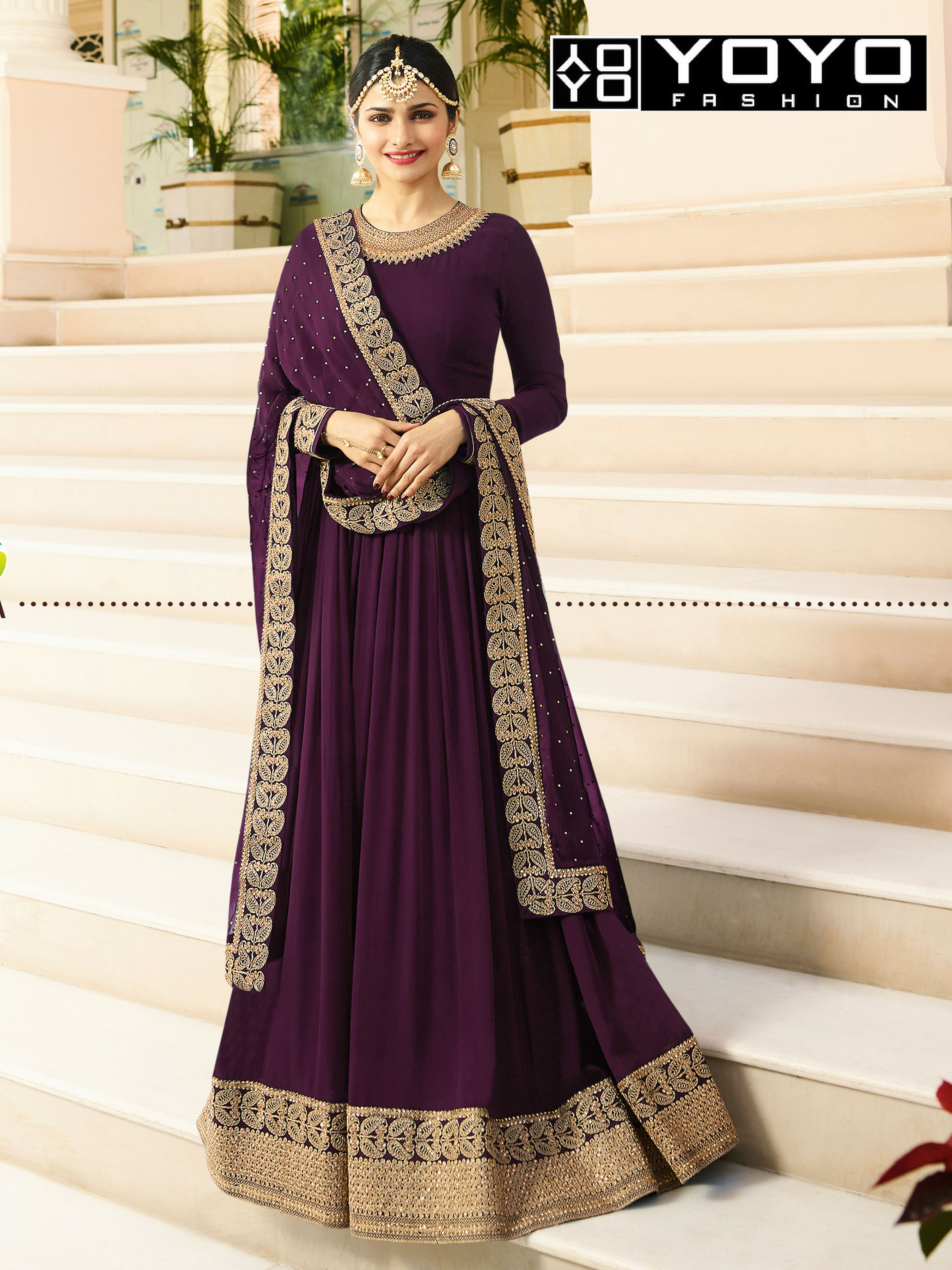 22376ade4f96 YOYO Designer Faux Georgette Purple Embroidered Anarkali Salwar Suit Online  On YOYO Fashion. Call or Whatsapp for more info here  +91 8000588688   SalwarSuit ...