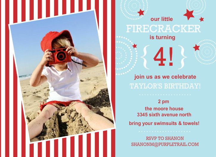 Blue And Red Stars Stripes Fourth Of July Birthday Party Invitation