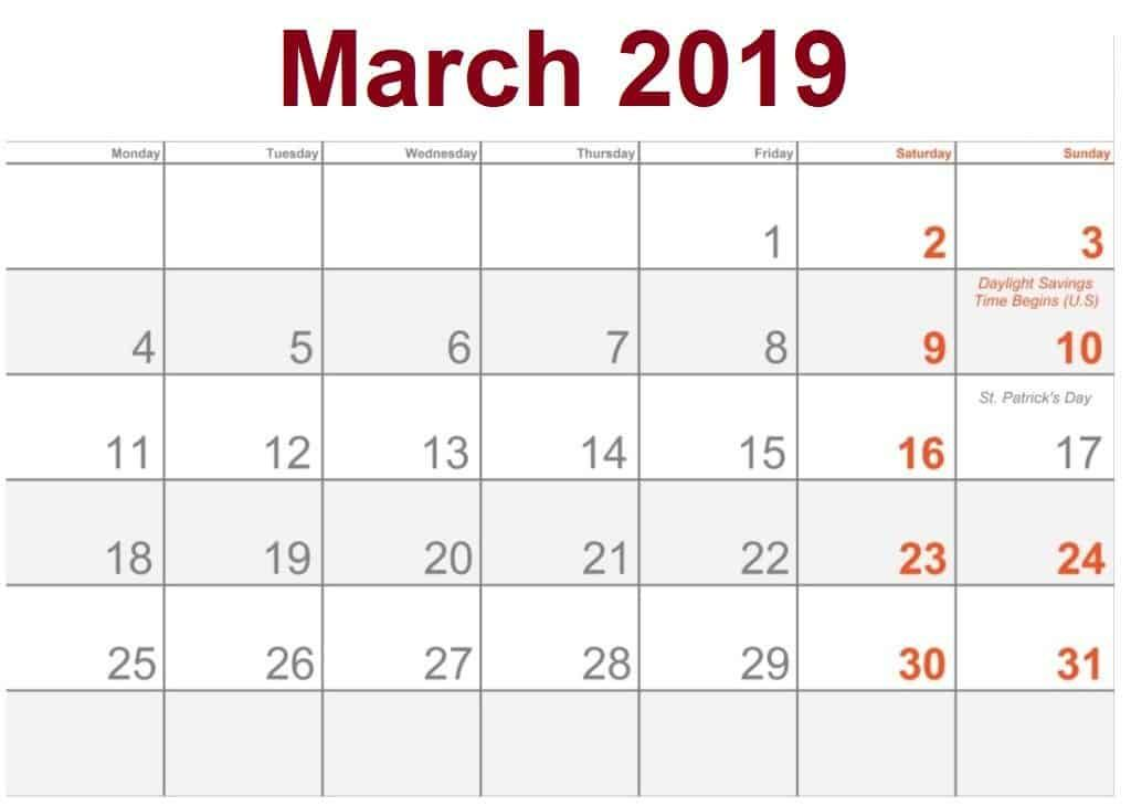March 2019 Calendar Holidays Usa Holiday Calendar Calendar March