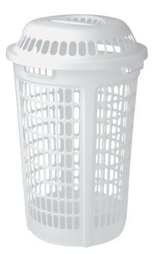 United Solutions Round Plastic Laundry Hamper With Lid Two Bushel