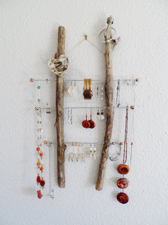 Bois Flotté Porte Photo porte bijoux mural en bois flotté côté coeur | porte bijoux