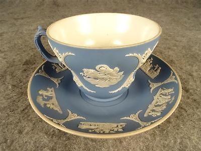 Vintage-Wedgwood-Azul-Jasperware-de-taza-y-platillo-hecho-En-Inglaterra