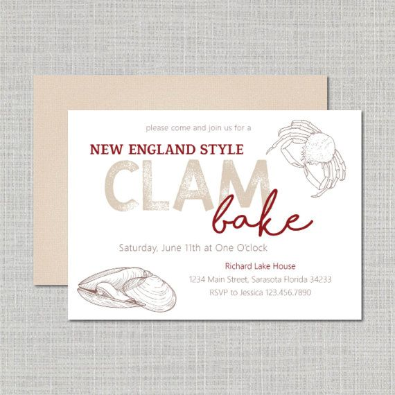 Clam Bake Invitation Party New England Style