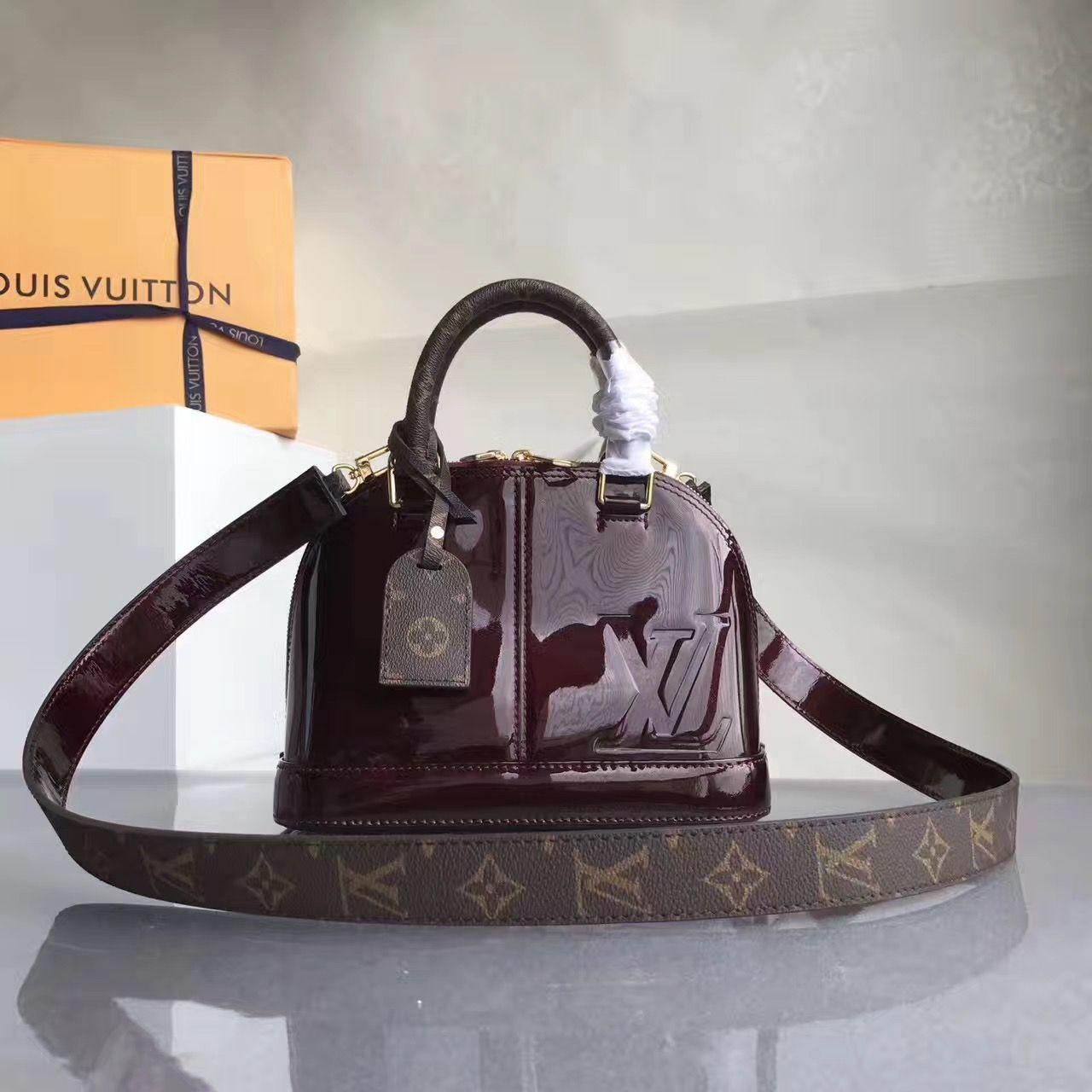 80914795bf Louis Vuitton Alma BB Vernis Lisse Handbag Burgundy 2017 | Louis ...