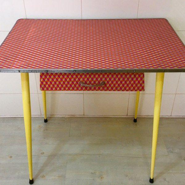 Mesa cocina vintage decoupage 3d muebles antiguos restaurados en reciclandoenelatico mesas - Mesa cocina vintage ...