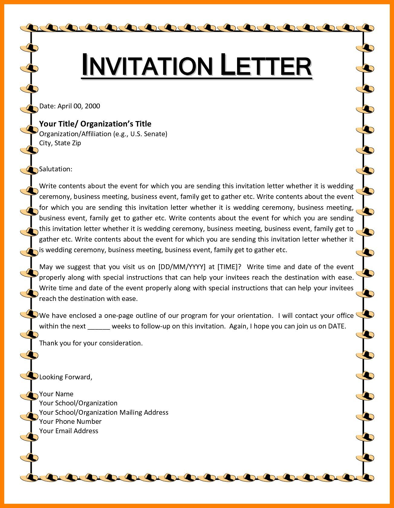 Birthday Invitation Template : Birthday Invitation Letter Template