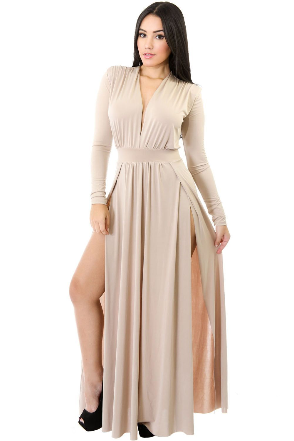 dda04f8d345 Robes Maxi Longue Abricot Super Chic Manches Longues Double Fendu Pas Cher  www.modebuy.com  Modebuy  Modebuy  Abricot  mode  me  gros
