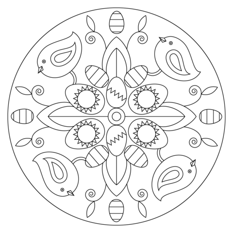 Easter Mandala with Birds and Eggs