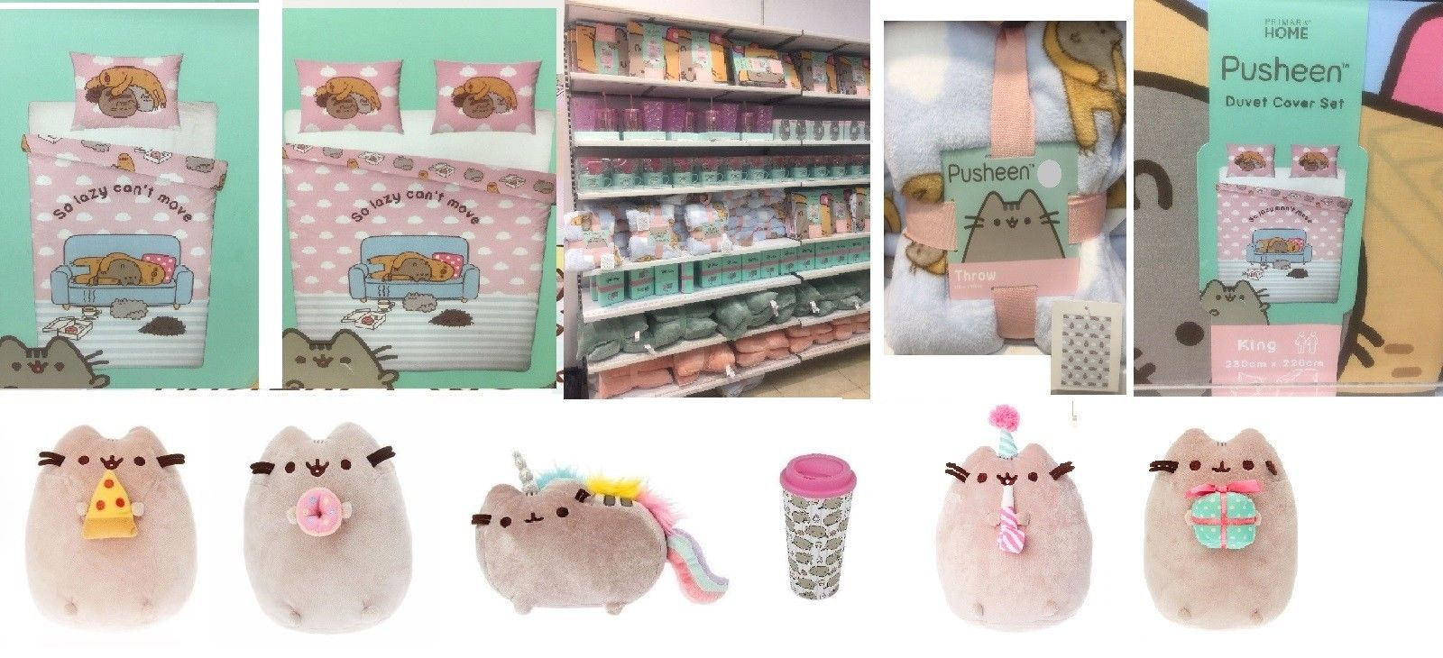 Pusheen The Cat Double King Duvet Cover Bed Set Throw